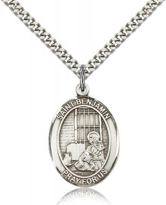 "Sterling Silver St. Benjamin Pendant, Stainless Silver Heavy Curb Chain, Large Size Catholic Medal, 1"" x 3/4"""