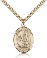 "Gold Filled St. Catherine of Siena Pendant, Stainless Gold Heavy Curb Chain, Large Size Catholic Medal, 1"" x 3/4"""