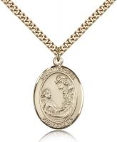 "Gold Filled St. Cecilia Pendant, Stainless Gold Heavy Curb Chain, Large Size Catholic Medal, 1"" x 3/4"""