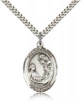 "Sterling Silver St. Cecilia Pendant, Stainless Silver Heavy Curb Chain, Large Size Catholic Medal, 1"" x 3/4"""