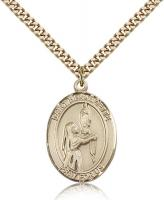 "Gold Filled St. Bernadette Pendant, Stainless Gold Heavy Curb Chain, Large Size Catholic Medal, 1"" x 3/4"""