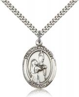 "Sterling Silver St. Bernadette Pendant, Stainless Silver Heavy Curb Chain, Large Size Catholic Medal, 1"" x 3/4"""