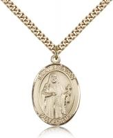"Gold Filled St. Brendan the Navigator Pendant, Stainless Gold Heavy Curb Chain, Large Size Catholic Medal, 1"" x 3/4"""