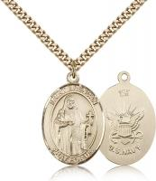 "Gold Filled St. Brendan the Navigator/ Navy Pendan, Stainless Gold Heavy Curb Chain, Large Size Catholic Medal, 1"" x 3/4"""