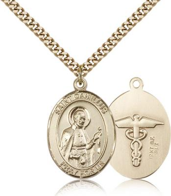 "Gold Filled St. Camillus of Lellis Pendant, Stainless Gold Heavy Curb Chain, Large Size Catholic Medal, 1"" x 3/4"""
