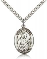 "Sterling Silver St. Camillus of Lellis Pendant, Stainless Silver Heavy Curb Chain, Large Size Catholic Medal, 1"" x 3/4"""
