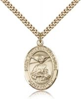 "Gold Filled St. Catherine Laboure Pendant, Stainless Gold Heavy Curb Chain, Large Size Catholic Medal, 1"" x 3/4"""