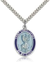 "Sterling Silver St. Christopher Blue Border Pendan, Stainless Silver Heavy Curb Chain, Large Size Catholic Medal, 1"" x 3/4"""