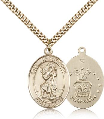 "Gold Filled St. Christopher Air Force Pendant, Stainless Gold Heavy Curb Chain, Large Size Catholic Medal, 1"" x 3/4"""