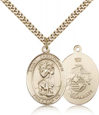 "Gold Filled St. Christopher Marines Pendant, Stainless Gold Heavy Curb Chain, Large Size Catholic Medal, 1"" x 3/4"""