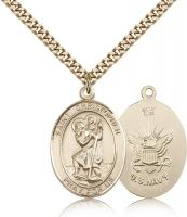 "Gold Filled St. Christopher Navy Pendant, Stainless Gold Heavy Curb Chain, Large Size Catholic Medal, 1"" x 3/4"""