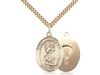 "Gold Filled St. Christopher / Paratrooper Pendant, SG Heavy Curb Chain, Large Size Catholic Medal, 1"" x 3/4"""