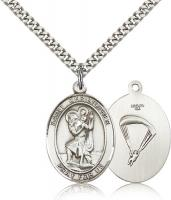 "Sterling Silver St. Christopher/Paratrooper Pendan, Stainless Silver Heavy Curb Chain, Large Size Catholic Medal, 1"" x 3/4"""