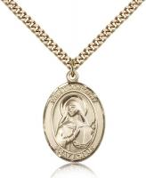 "Gold Filled St. Dorothy Pendant, Stainless Gold Heavy Curb Chain, Large Size Catholic Medal, 1"" x 3/4"""