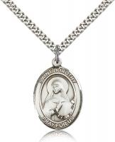 "Sterling Silver St. Dorothy Pendant, Stainless Silver Heavy Curb Chain, Large Size Catholic Medal, 1"" x 3/4"""