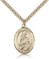 "Gold Filled St. Daniel Pendant, Stainless Gold Heavy Curb Chain, Large Size Catholic Medal, 1"" x 3/4"""
