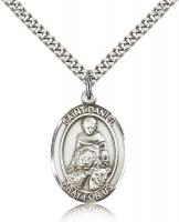 "Sterling Silver St. Daniel Pendant, Stainless Silver Heavy Curb Chain, Large Size Catholic Medal, 1"" x 3/4"""