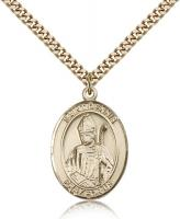 "Gold Filled St. Dennis Pendant, Stainless Gold Heavy Curb Chain, Large Size Catholic Medal, 1"" x 3/4"""