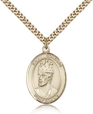 "Gold Filled St. Edward the Confessor Pendant, Stainless Gold Heavy Curb Chain, Large Size Catholic Medal, 1"" x 3/4"""