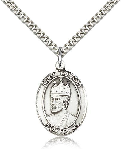 sterling silver st edward the confessor pendant stainless silver 2 X 3 Picture Frames sterling silver st edward the confessor pendant stainless silver heavy curb chain large size catholic medal 1 x 3 4
