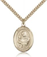 "Gold Filled St. Clare of Assisi Pendant, Stainless Gold Heavy Curb Chain, Large Size Catholic Medal, 1"" x 3/4"""