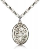 "Sterling Silver St. Clare of Assisi Pendant, Stainless Silver Heavy Curb Chain, Large Size Catholic Medal, 1"" x 3/4"""