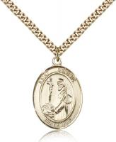 "Gold Filled St. Dominic de Guzman Pendant, Stainless Gold Heavy Curb Chain, Large Size Catholic Medal, 1"" x 3/4"""