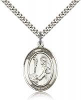 "Sterling Silver St. Dominic de Guzman Pendant, Stainless Silver Heavy Curb Chain, Large Size Catholic Medal, 1"" x 3/4"""