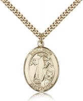 "Gold Filled St. Elmo Pendant, Stainless Gold Heavy Curb Chain, Large Size Catholic Medal, 1"" x 3/4"""