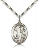 "Sterling Silver St. Elmo Pendant, Stainless Silver Heavy Curb Chain, Large Size Catholic Medal, 1"" x 3/4"""