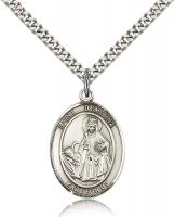 "Sterling Silver St. Dymphna Pendant, Stainless Silver Heavy Curb Chain, Large Size Catholic Medal, 1"" x 3/4"""