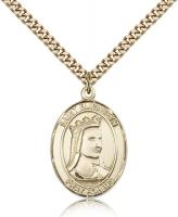 "Gold Filled St. Elizabeth of Hungary Pendant, Stainless Gold Heavy Curb Chain, Large Size Catholic Medal, 1"" x 3/4"""