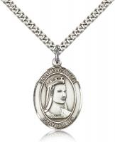 "Sterling Silver St. Elizabeth of Hungary Pendant, Stainless Silver Heavy Curb Chain, Large Size Catholic Medal, 1"" x 3/4"""