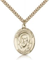 "Gold Filled St. Francis de Sales Pendant, Stainless Gold Heavy Curb Chain, Large Size Catholic Medal, 1"" x 3/4"""