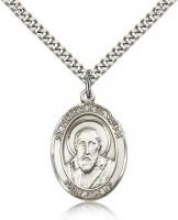 "Sterling Silver St. Francis de Sales Pendant, Stainless Silver Heavy Curb Chain, Large Size Catholic Medal, 1"" x 3/4"""