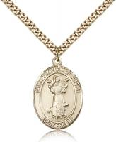 "Gold Filled St. Francis of Assisi Pendant, Stainless Gold Heavy Curb Chain, Large Size Catholic Medal, 1"" x 3/4"""