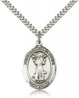 "Sterling Silver St. Francis of Assisi Pendant, Stainless Silver Heavy Curb Chain, Large Size Catholic Medal, 1"" x 3/4"""
