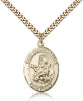 "Gold Filled St. Francis Xavier Pendant, Stainless Gold Heavy Curb Chain, Large Size Catholic Medal, 1"" x 3/4"""