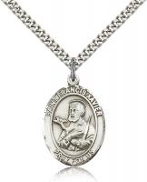 "Sterling Silver St. Francis Xavier Pendant, Stainless Silver Heavy Curb Chain, Large Size Catholic Medal, 1"" x 3/4"""
