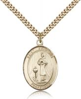 "Gold Filled St. Genesius of Rome Pendant, Stainless Gold Heavy Curb Chain, Large Size Catholic Medal, 1"" x 3/4"""