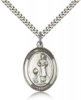 "Sterling Silver St. Genesius of Rome Pendant, Stainless Silver Heavy Curb Chain, Large Size Catholic Medal, 1"" x 3/4"""