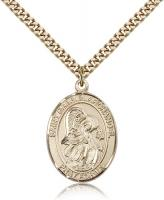 "Gold Filled St. Gabriel the Archangel Pendant, Stainless Gold Heavy Curb Chain, Large Size Catholic Medal, 1"" x 3/4"""