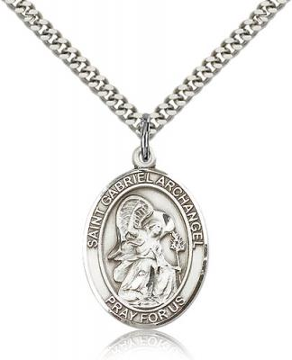 "Sterling Silver St. Gabriel the Archangel Pendant, Stainless Silver Heavy Curb Chain, Large Size Catholic Medal, 1"" x 3/4"""