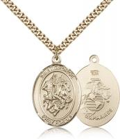 "Gold Filled St. George Pendant, Stainless Gold Heavy Curb Chain, Large Size Catholic Medal, 1"" x 3/4"""