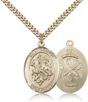 "Gold Filled St. George National Guard Pendant, Stainless Gold Heavy Curb Chain, Large Size Catholic Medal, 1"" x 3/4"""