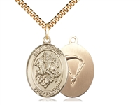 "Gold Filled St. George/Paratrooper Pendant, SG Heavy Curb Chain, Large Size Catholic Medal, 1"" x 3/4"""