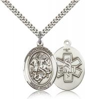 "Sterling Silver St. George / Emt Pendant, Stainless Silver Heavy Curb Chain, Large Size Catholic Medal, 1"" x 3/4"""