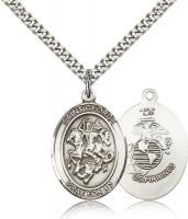 "Sterling Silver St. George Pendant, Stainless Silver Heavy Curb Chain, Large Size Catholic Medal, 1"" x 3/4"""