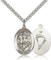 "Sterling Silver St. George/Paratrooper Pendant, Stainless Silver Heavy Curb Chain, Large Size Catholic Medal, 1"" x 3/4"""