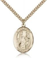 "Gold Filled St. Genevieve Pendant, Stainless Gold Heavy Curb Chain, Large Size Catholic Medal, 1"" x 3/4"""